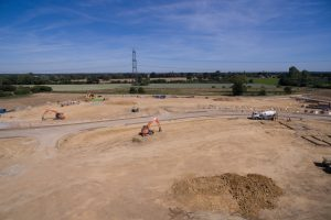 Overhead of Taylor Wimpey development site Bateman Groundworks
